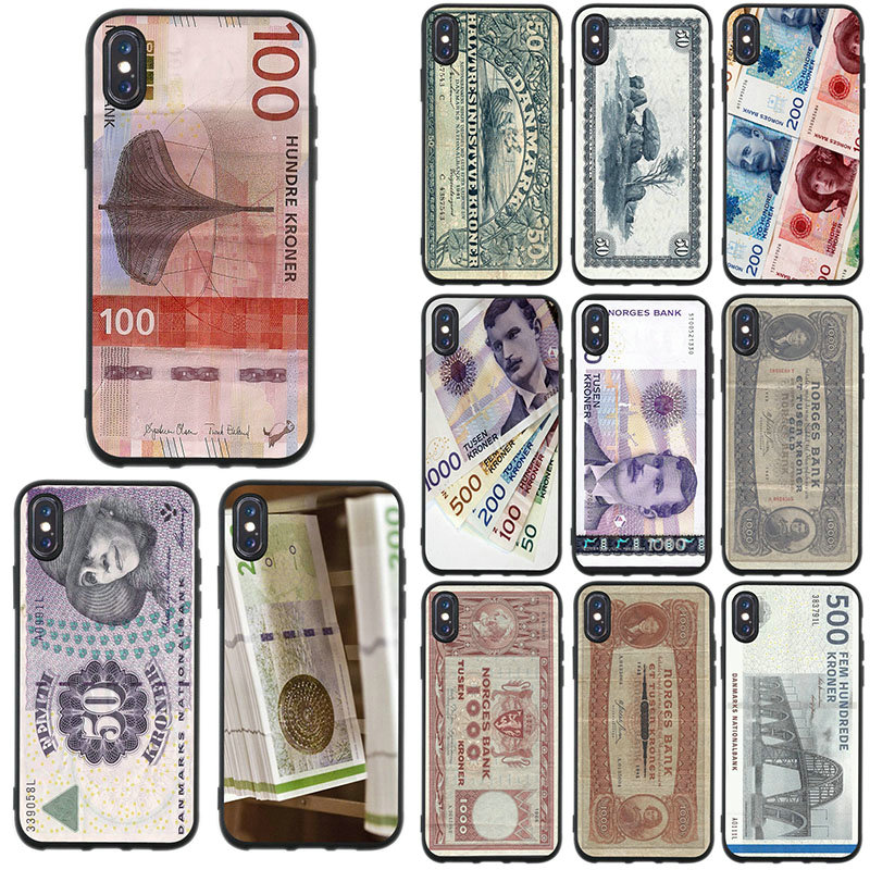 Soft TPU Silicone Mobile Phone Cases For IPhone 8 7 6 6S Plus X XR XS Max 5 5S SE 4 4S Cover Shell Design Danmark Danish Krone