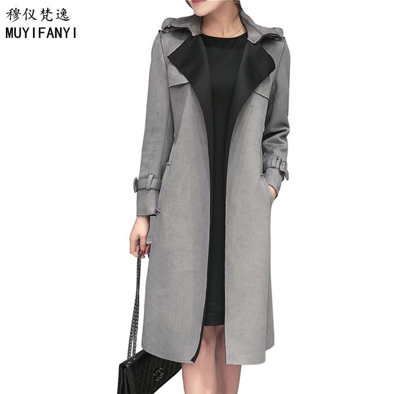 New Autumn Women Trench Coat Cardigan Vintage Belted Elegant Lady Slim Suede Long Trench Coat Plus Size Windbreaker Outwear