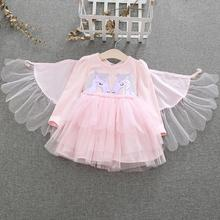 Little Girl Unicorn Tutu Dress up Costume With Wings Children Long Sleeve Princess Party Cosplay Fancy Dress Halloween Gift New muababy girl anna dress up clothes with cape children long sleeve floral applique snow queen cosplay costume for halloween party
