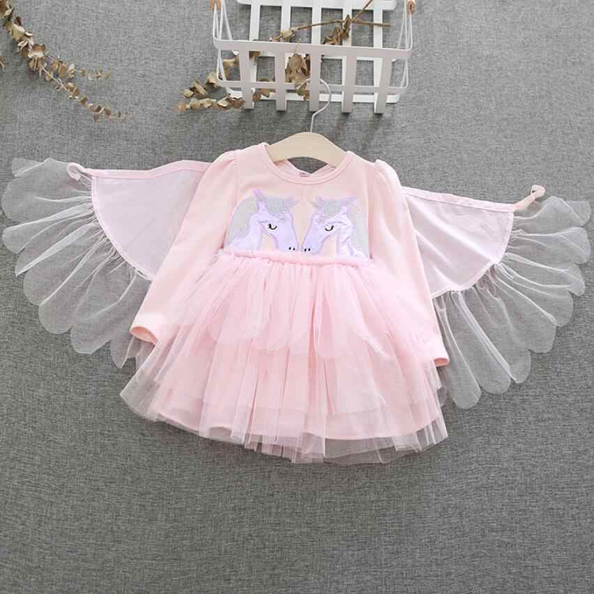 e958d045c8d9 Little Girl Unicorn Tutu Dress up Costume With Wings Children Long Sleeve  Princess Party Cosplay Fancy