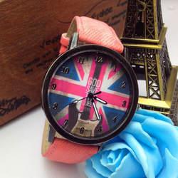 Мужская мода кварцевые часы широкополосный ретро британский флаг джинсовые кожаные Наручные часы женские подарки Relogio Feminino Лидер продаж HK