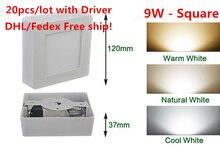 DHL Free shipping 20pcs Warm/Cool White Optional 9W/15W/25W AC85-265V Square CeilingSurface Mounted LED Panel Light