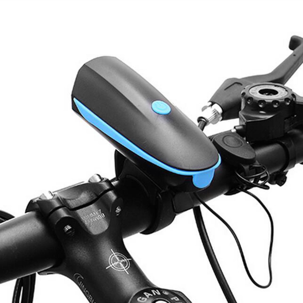 DEROACE Rechargeable LED 3 Flash Mode Bike Light Waterproof Bicycle Lamp Cycly Headlight Handlebar Electric Horn Bike Accessory