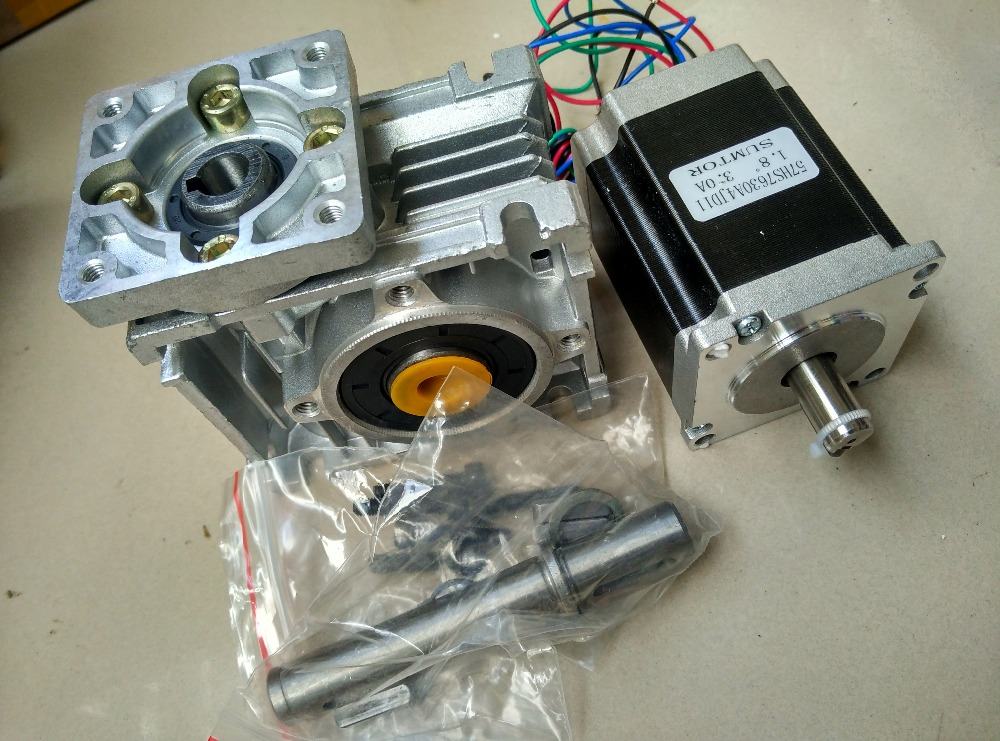 NMRV30 Worm Gearbox Geared NEMA23 1.8NM Stepper Motor Ratio 20:1 with single output shaft 57mm planetary gearbox geared stepper motor ratio 10 1 nema23 l 56mm 3a