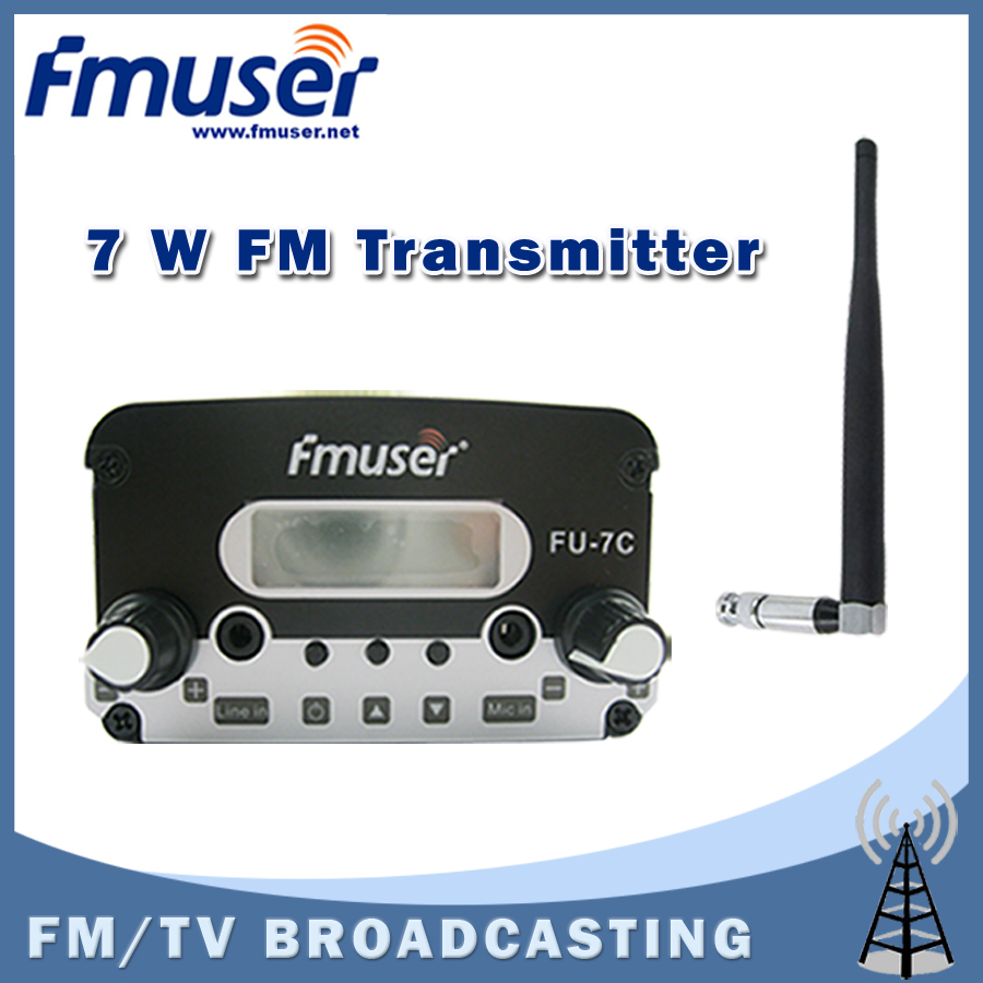 Free shipping FMUSER FU-7C 7W FM Transmitter stereo PLL FM radio broadcast Short antenna Black KIT free shipping fmuser fu 30c new 30w fm transmitter 0 30w adjustable for fm radio station 1 2 wave dipole antenna kit