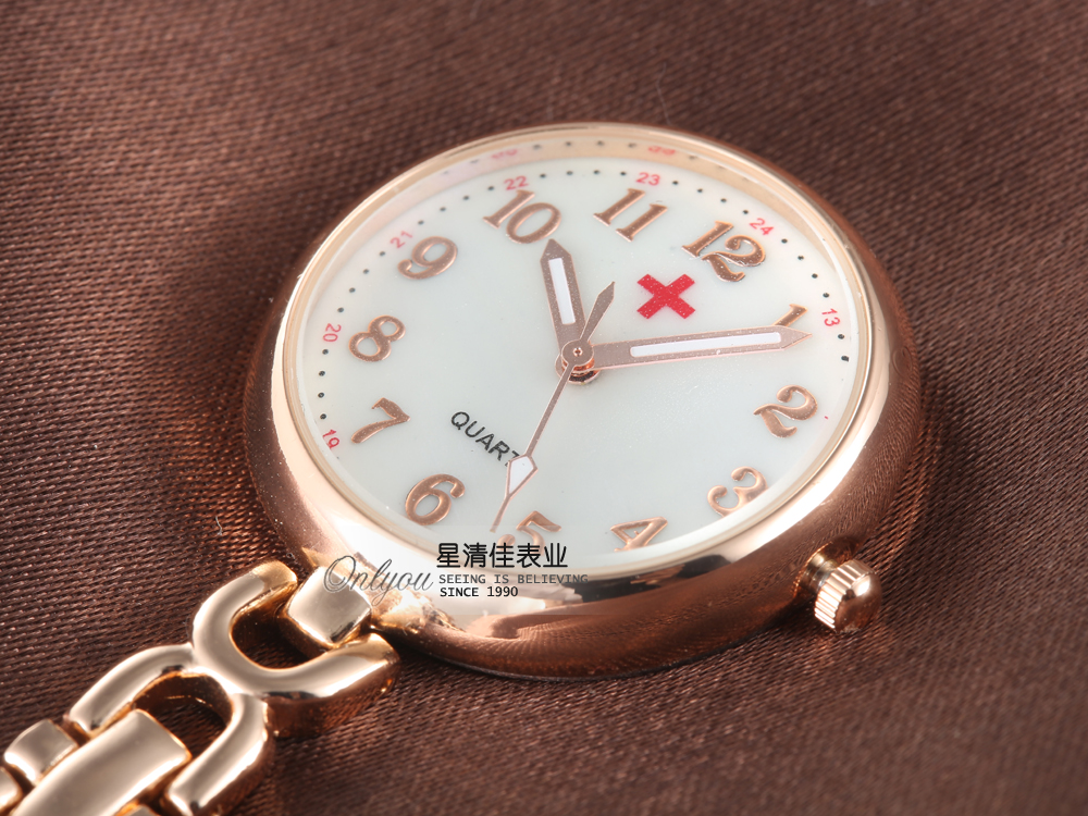 Elegant Round Dial Clip-on Fob Nurse Pocket Watch Quartz Rose Gold Brooch Hanging Doctor Women Luminous Pin Watch Kids Relogio