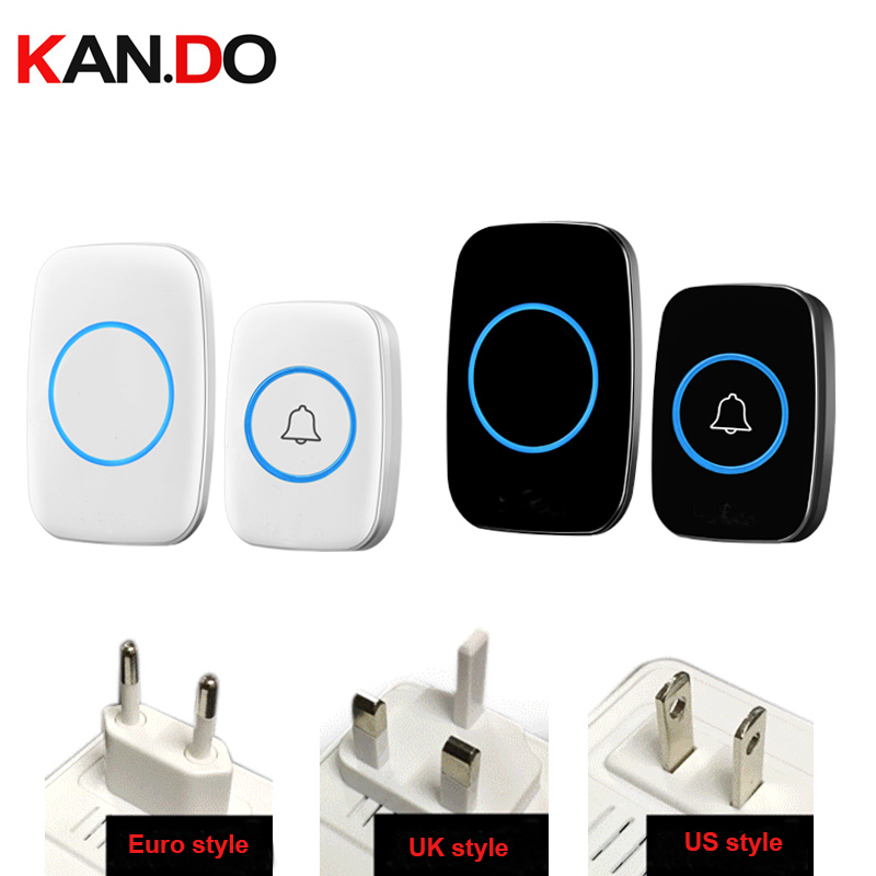 US/Euro/ UK plug digital bell w/ 1 emitter+1 receivers wireless doorbell Waterproof 380 Meter door chime 48 melodies door ring kinetic cordless smart home doorbell 2 button and 1 chime battery free button waterproof eu us uk wireless door bell