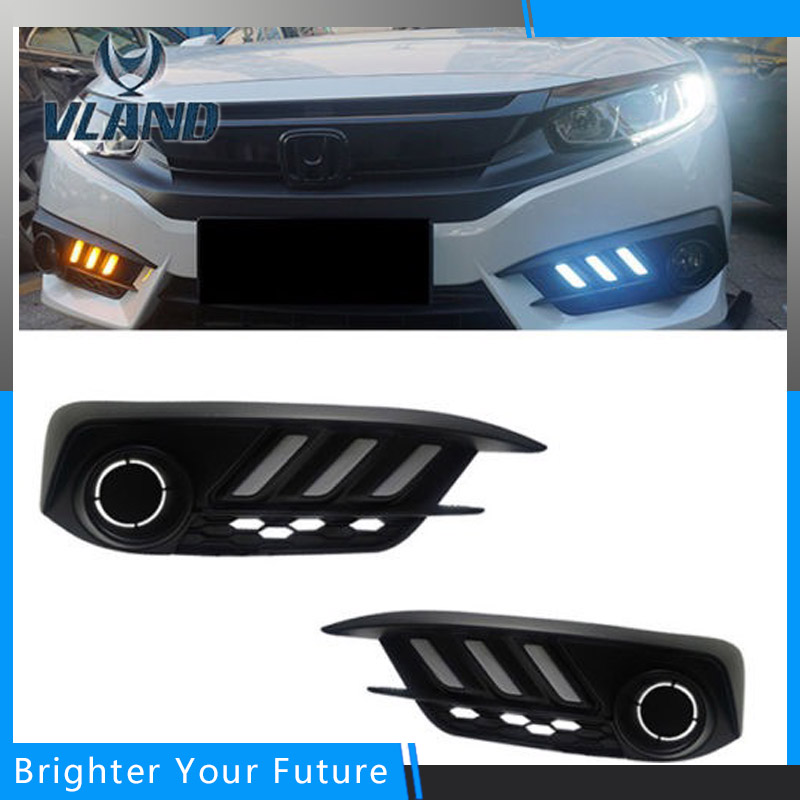 Daytime Running Light For Honda Civic 10th 2016 2017 Waterproof Turning Yellow Signal light With Fog Lamp neo chrome rear lower control arm lca for honda civic 2001 2005 e2c