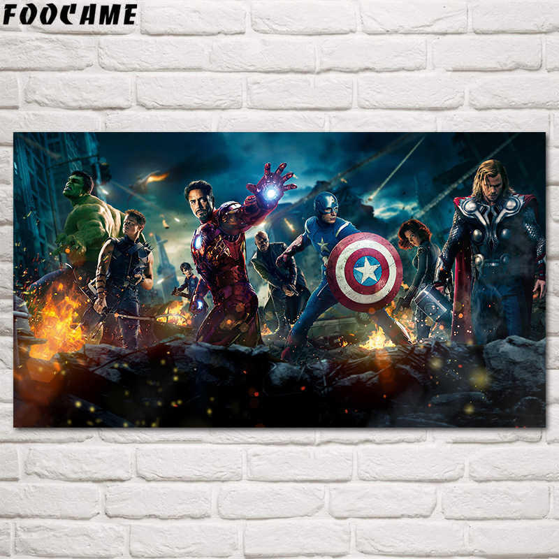 FOOCAME Hulk Captain America Iron Man Avengers Movies Poster Silk Home Decoration Wall Art Print Decorative Pictures Living Room