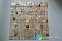 Yellow and black mother of pearl mosaic tile for kitchen backsplash and bathroom natural color 5 square feet/lot square pattern