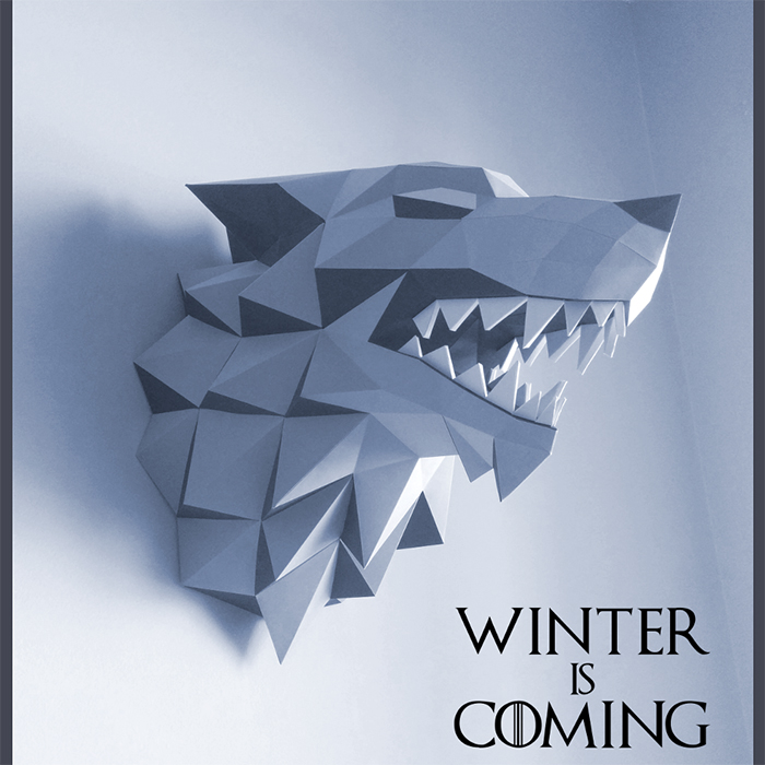 37cm Game Of Thrones House Stark Winterfell Direwolf Head Paper Folding Model Toy Puzzle Winter Is Coming Waterproof Photo Paper