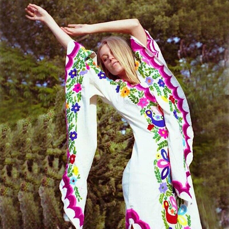 Zwaar Geborduurd Vintage Flare Mouwen V hals Maxi Lange Vrouwen Jurk Kleurrijke Bloemen Rijk Luxe Jurk Met Split Robe Femme-in Jurken van Dames Kleding op  Groep 1