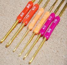 Gold Double crochet Hand sewing kit Carbonized handle wool needle / sweater woven tool hook bag fabric 4PC/LOT A090