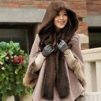 2018 Fashion Genuine Knitted Mink Fur Scarf Fur Hat with Hoody Knitted Mink Fur Scarf hat one Piece Free Shipping