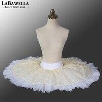 BT8967D prestaties half ballet tutu geel wit meisjes pannenkoek dance tutu rok kind