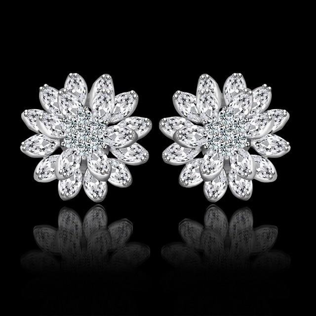 Luxury Lotus Shape Stud Earrings For Women Clip Ear AAA CZ Jewelry Gold Plated Party Earring ear cuff brincos Wholesale JJ10395