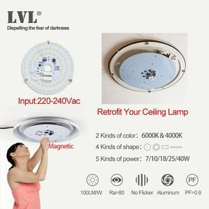 Image 5 - Moduł LED do lamp sufitowych 40W Panel LED sufit pokoju dziennego okrągła świetlówka Led 220V źródło lampa płaska