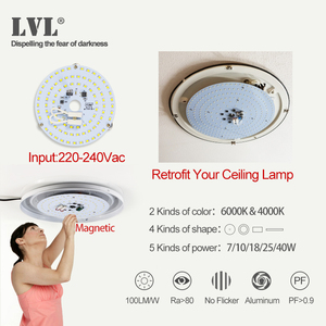 Image 5 - Module Led Voor Plafond Verlichting 40W Panel Led Woonkamer Plafond Ronde Led Buis Licht 220V Bron Plaat lamp