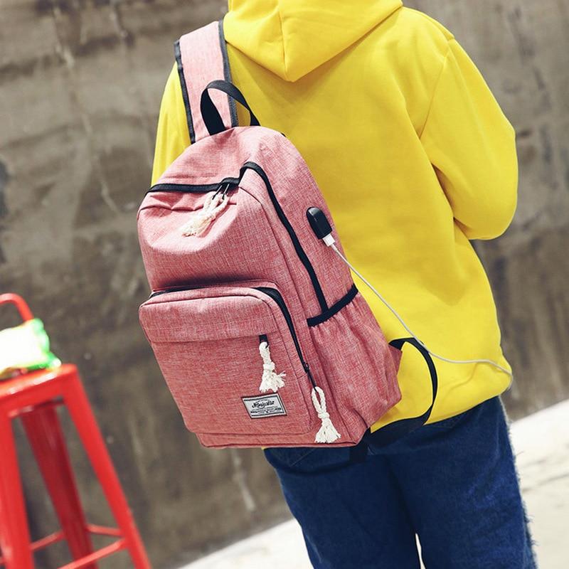 Usb Canvas Men Backpack Female Students School Bag for Teenage Girls Back Pack Male Bag Women Back pack Black Mochila Escolar