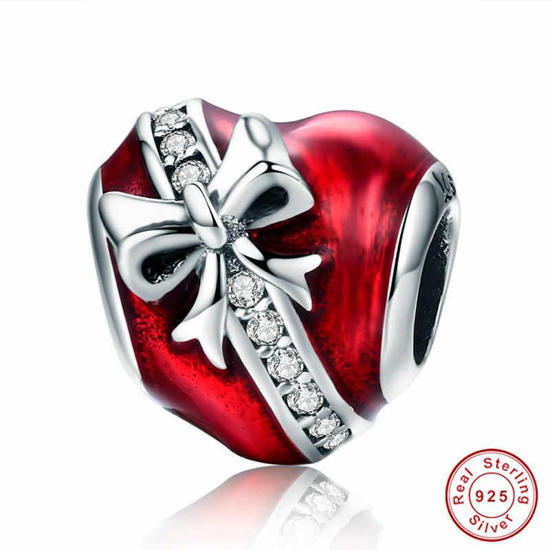 INBEAUT hakiki 925 ayar gümüş çin kırmızı aşk dokunmatik kalp anne bebek boncuk fit avrupa bilezik yıldız mektubu kristal takılar