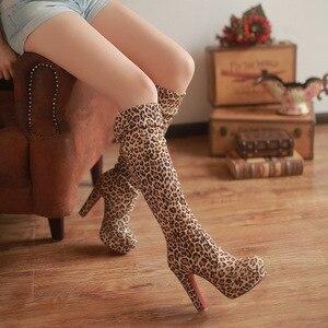 Image 5 - Bota feminina super alta com salto alto, calçado feminino plataforma elástica fecho dois sensual desgaste roupa