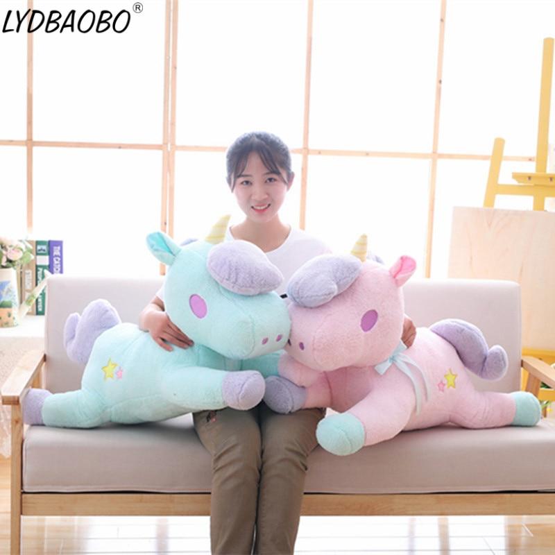 LYDBAOBO 1 шт., 85 см, супер гигантский единорог, плюшевая кукла, милый мультяшный единорог, животные, мягкая игрушка, детский подарок, украшение дл