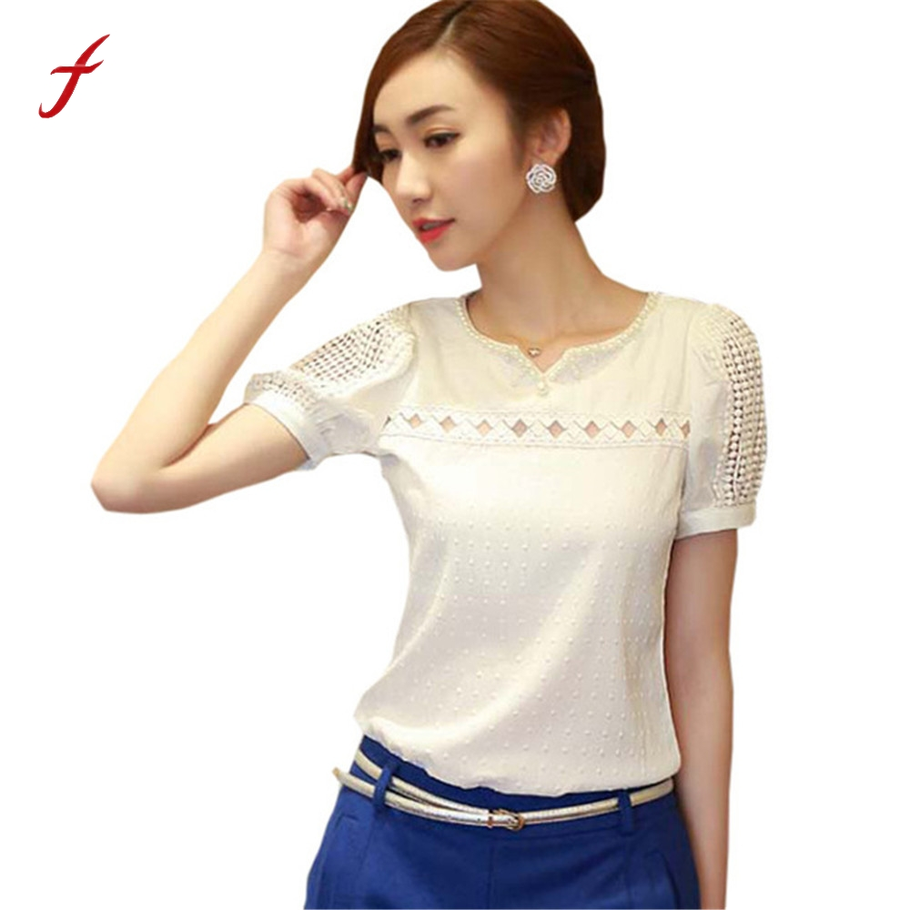 Feitong Blusas Femininas Women Lace Pearl Blouse 2020 Fashion Summer Short Sleeve Shirt V Neck Doll Tops Women Blouses Best New