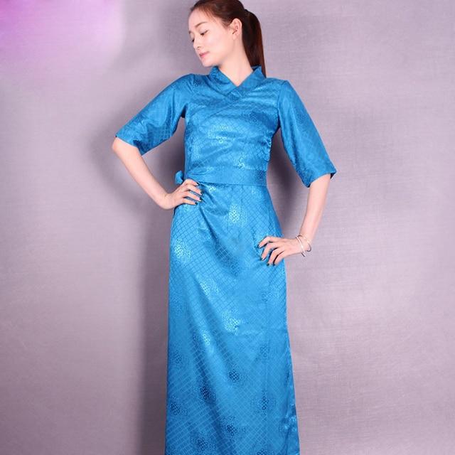 Tibet summer clothing female Tibetan Long Robe short sleeved Bora Polly cangpao Woman Fashion cool and breathable Costume