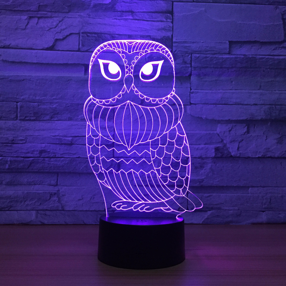 3D Lamp Cute Owl 7 Color Led Night Lamps for Kid Touch Led USB Table Lampara Baby Sleeping Nightlight Drop Ship Led With Sensor