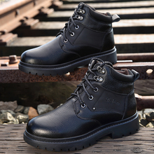 Winter Men Boots Genuine Leather Boots Men Winter Shoes Men Wool lining Outdoor Waterproof Snow Boots Man Shoes Zapatos Hombre