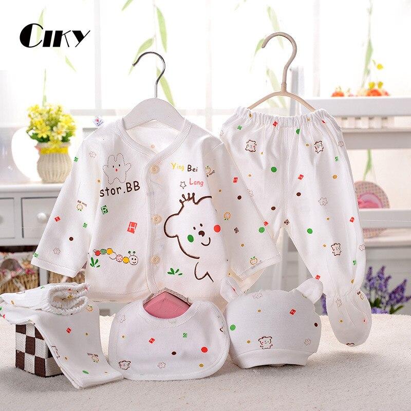 (5pcs/set)Newborn Baby 0-3M Clothing Set Brand Baby Boy/Girl Clothes 100% Cotton Cartoon Underwear
