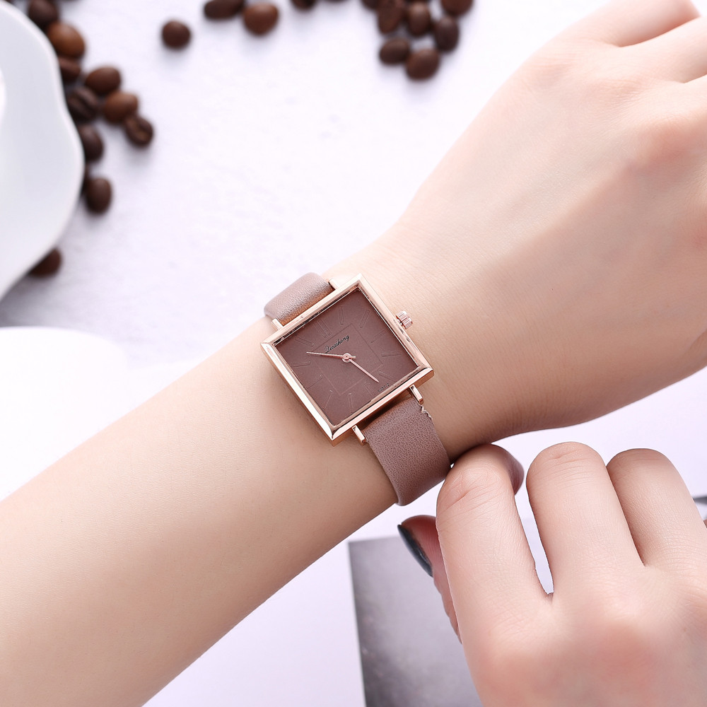 Square Women Watch Classics Hot Brand Dress Quartz Wristwatch Leather Band Girls Watch 2019 Women Clock Relojes Mujer LD