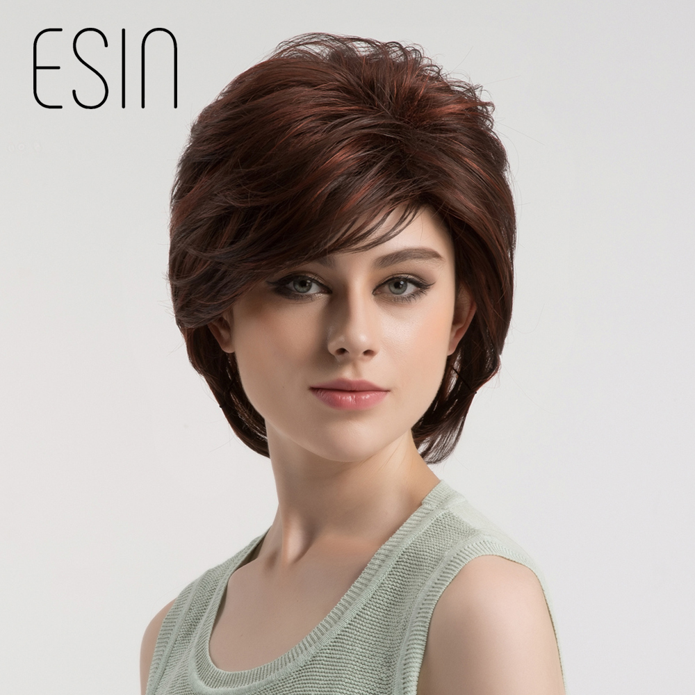 Esin Synthetic Inclined Bangs Women Wig Dark Brown with Highlight Short Straight Hair Bob Wigs Cosplay Auburn Hairstyle 8 inch