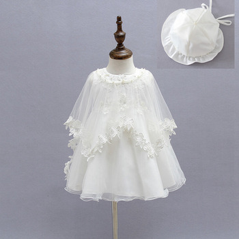 Baby dress for girls 3pieces hat+dress+cape vintage newborn CHRISTENING DRESS for baby ball gown robe fille party girl dress