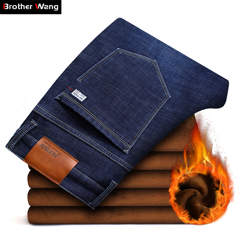 2019 New Men's Winter Brand   Jeans   Warm Slim Fit Denim Pants Male Balck Blue Thicken Trousers   Jeans   Big Size Men 38 40 42 44 46