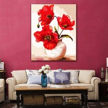 DIY colorings pictures by numbers with colors Poppy vase flower arrangement picture drawing painting framed Home