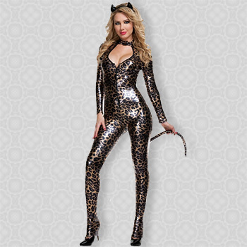 Halloween Animal Costume For Women ML5214 Long Sleeves Sexy Women's Deluxe  Catsuit Cosplays Leather Sexy Catwoman