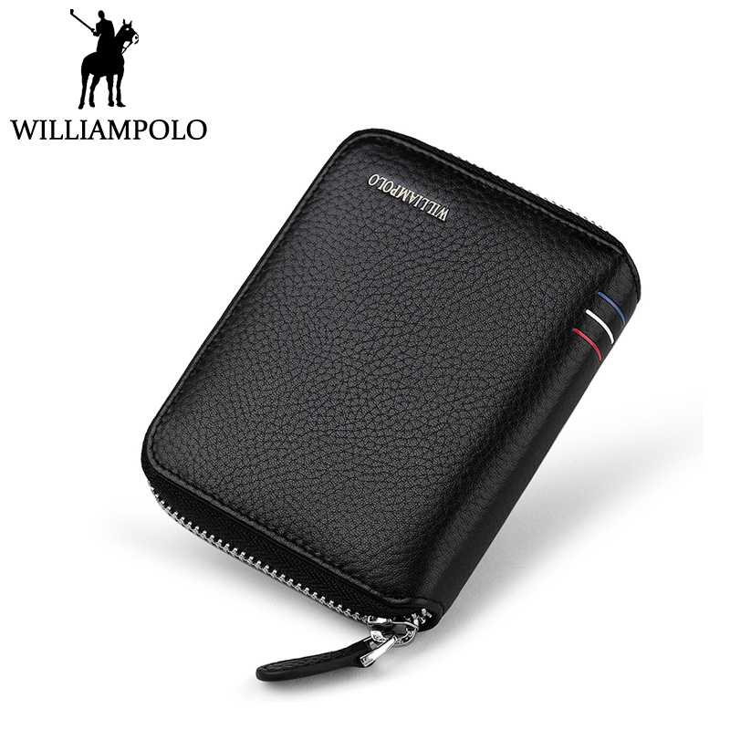 WilliamPOLO Small Wallet Zipper Purse Genuine Leather Men Wallet Mini Short Pouch Black Brown Blue 2018 Trendy Style hlq mxq12 50 smc type mxq series pneumatic cylinder mxq12 50a 50as 50at 50b air slide table double acting 12mm bore 50mm stroke
