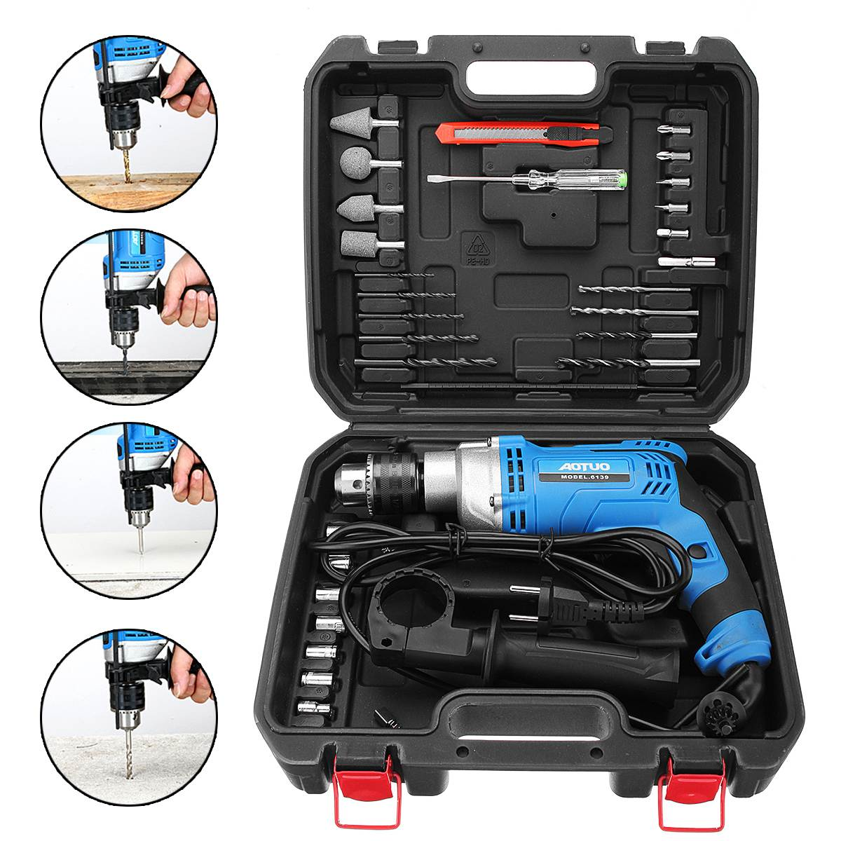 Multi-function Electric Hammer Impact Drill Screwdriver Sleeves Set Woodworking