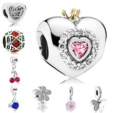 Luxurious Crystal Cherry Love Heart Butterfly Flower Unicorn Alloy Beads Fit Pandora Charm DIY Bracelet Women Jewelry Lover Gift(China)