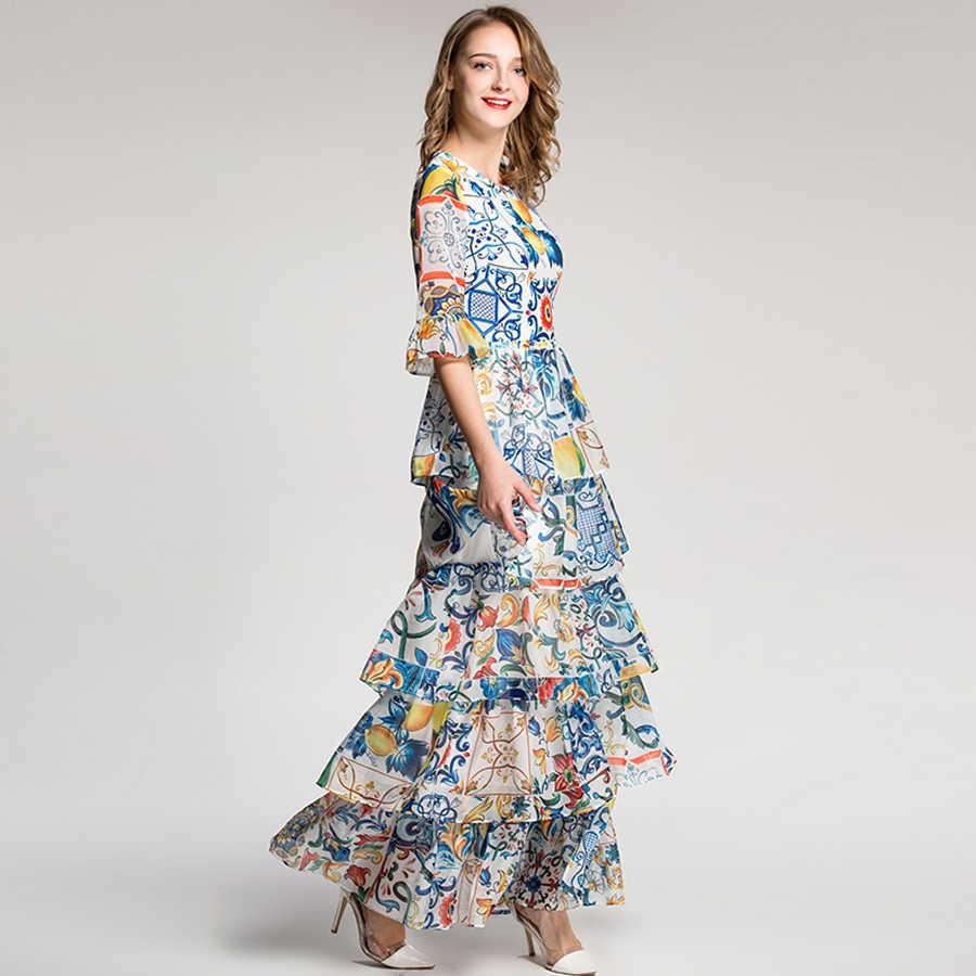 AELESEEN Sonbahar Kadınlar Uzun Elbiseler 2018 Tatil Lüks Yarım Parlama Kollu Moda Patchwork Baskı Porselen Romantik Pist Elbise