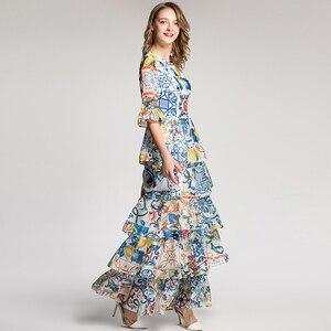 Image 2 - Aeleseen 가을 여성 긴 드레스 2018 휴일 럭셔리 하프 플레어 슬리브 패션 패치 워크 인쇄 도자기 로맨틱 활주로 드레스