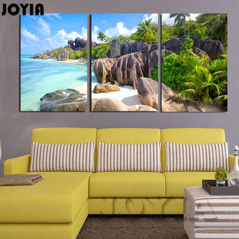 3 Piece Canvas Wall Art Seascape Moder Paintings Island Beach Scene Pictures Home Living Room Decoration Posters Prints No Frame