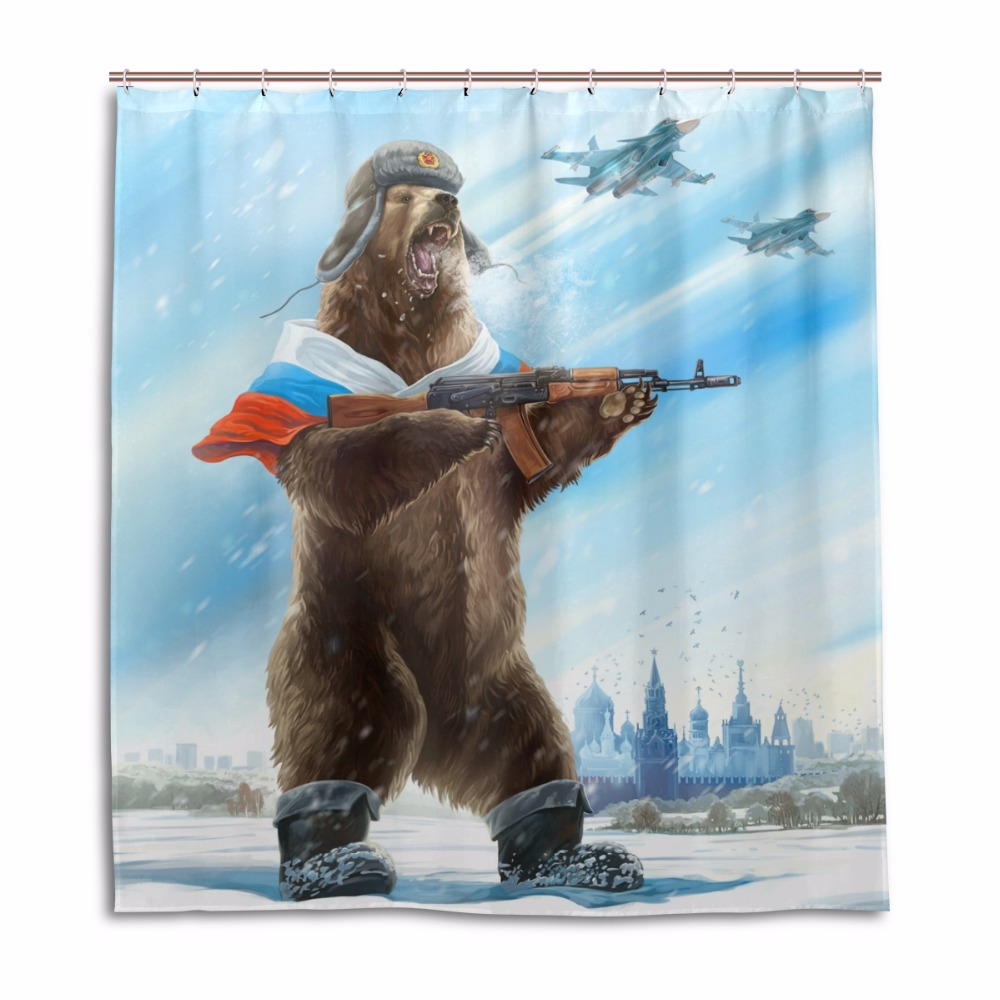 Russia Bear With Gun Shower Curtain Polyester Fabric Waterproof Bath Mildew Resistant Curtains Home Bathroom Decor In From