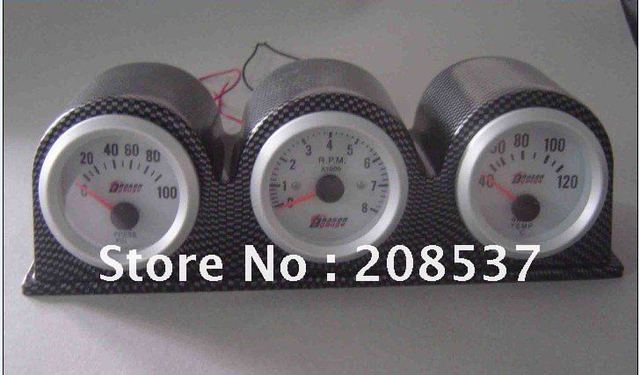 "2"" 52MM 3 IN 1 TRIPLE GAUGES(OIL PRESSURE+WATER TEMP+TACHOMETER)BLUE LED,CARBON KIT/WITH SENSORS"