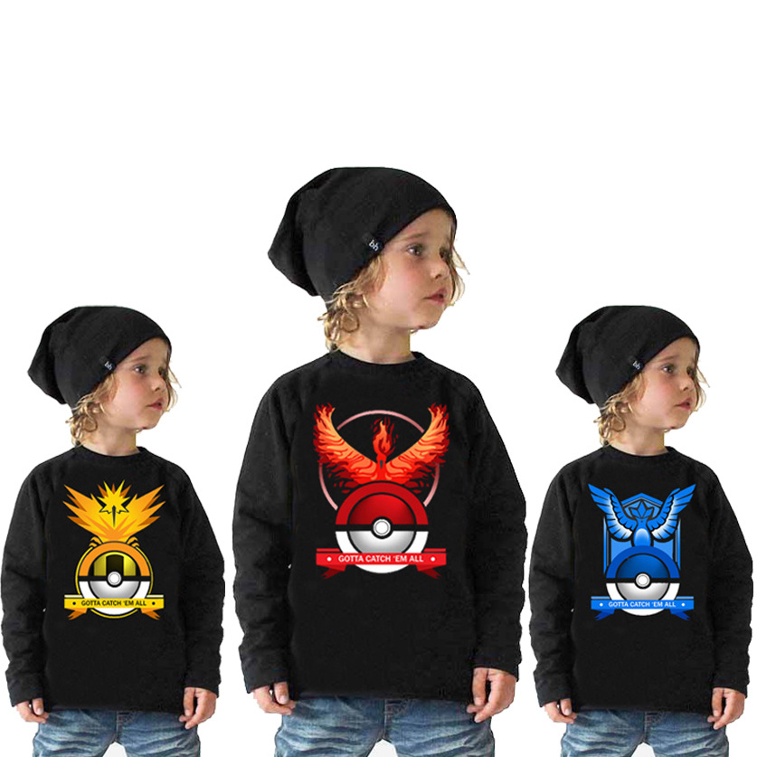 Kids Fashion Black T-shirts Long Sleeves Pokemon Go Cartoon Japanese Children Boys Cool Hoodies&Sweatshirts