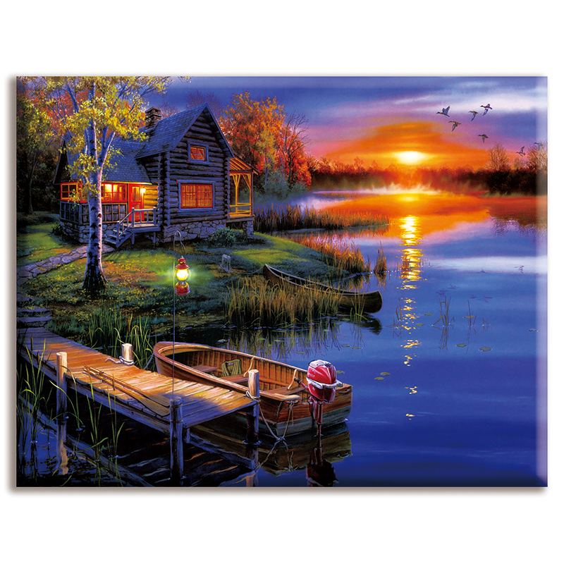 Dmc,Cross-stitch,Sets For Full Embroidery,house,Oil Painting Landscape ,White Canvas 40x50cm,cotton Thread,Diy,Needlework,kits