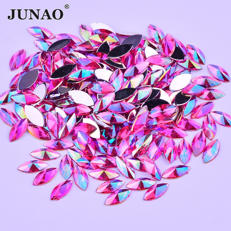 JUNAO 7x15mm Rose AB Crystal Flat Rhinestones Non Hotfix Strass Horse Eye Acrylic Crystal Beads Non Sewing Stones for Clothes