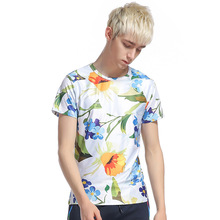 High Street Fashion Men's Floral T shirts New Brand Summer Short Sleeve Tee Tops Casual Slim Fit T-shirt Men 11475