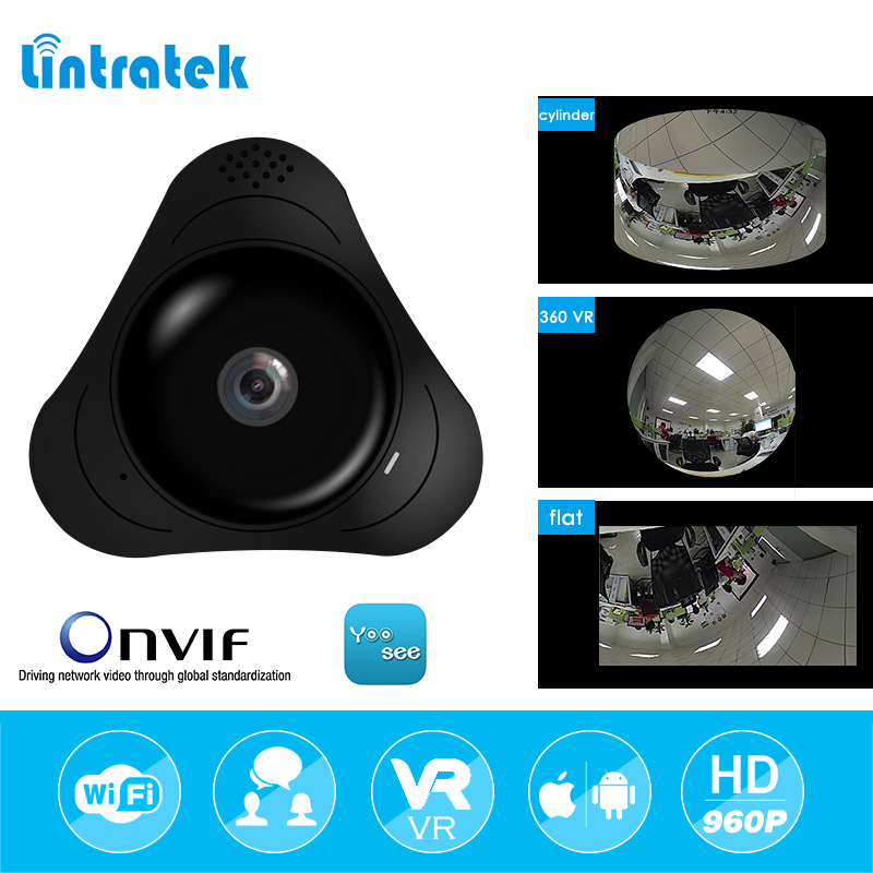 lintratek 960P Panoramic Camera Home Security Wireless CCTV Surveillance 360 Degree Mini IP Fisheye Camera Onvif Two Ways Audio